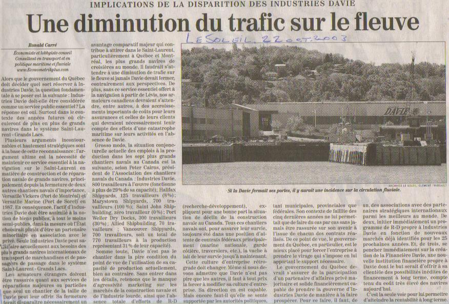 Davie situation - Le journal du vaucluse ...